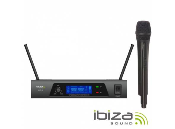 Sistema sem fios com microfone de mão Ibiza UHF 10 MICROFONE S/FIOS 1 CANAL UHF