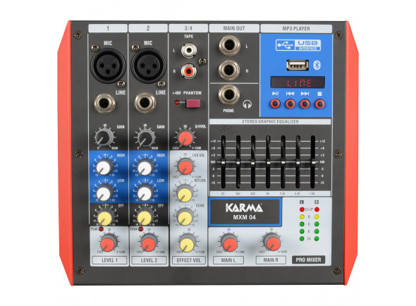 Mesa de Mistura Analógica Karma  4 Canais USB/Bluetooth KM-MXM04