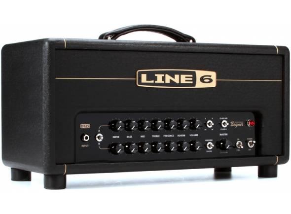 Line6 DT25 Head  Amplificador 25w, seleção de válvulas flexíve (Pentode ou Triode), 1 x 12AX7, 2 x EL84, 4 voicings, 1 x 12AX7, 2 x EL84 tubes 4/8/16 ohms nas saídas para coluna, loop de efeitos em série, 2 canais