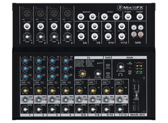 Mackie MIX12FX B-Stock  Mesa de mistura Mackie MIX12FX - 12 Channel Compact-Mixing Console - Internal Effects - 4 Mic/Line Inputs with 3Band-EQ and Phantom-Power