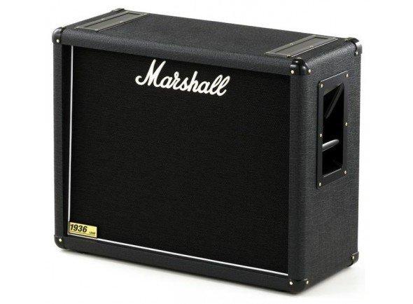 "Marshall 1936  Coluna Guitarra Marshall 1936. Electrónica: Selector (Stereo/Mono). Potência máxima: 150W. Woofer: 2 x Celestion G12T-75 de 12""."