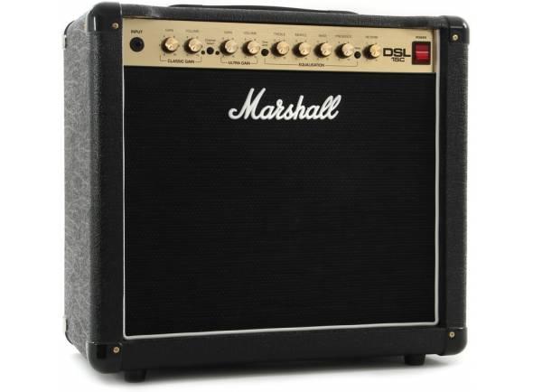 Marshall DSL15C  Combo Guitarra Eléctrica Marshall DSL15C. Efeitos: Digital Reverb. Electrónica: Preamp: 3x ECC83; Power Amp: 1x ECC83, 2x 6V6. Potência máxima: 15W. Potência: Pentode Mode Output (RMS): 15 W; Triode Mode Output (RMS): 7.5 W. Woofer: 1x Altifalante Celestion G12E-60.