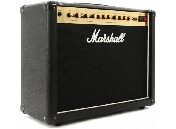 Marshall DSL40C   Combo Guitarra Eléctrica Marshall DSL 40C. Efeitos: Reverb (Ultra e Classic). Electrónica: Preamp: 4x ECC83; Power amp:4x EL84. Controladores: Equalizador (Treble, Middle, Bass); Resonance; Presence; Fx Loop On/Off; Triode (Half Power)/Pentode (Full Power); Clean/Crunch; Lead1/Lead2; Channel Select; Tone Shift. Potência máxima: 40W. Woofer: 1x Altifalante 12'' Celestion.