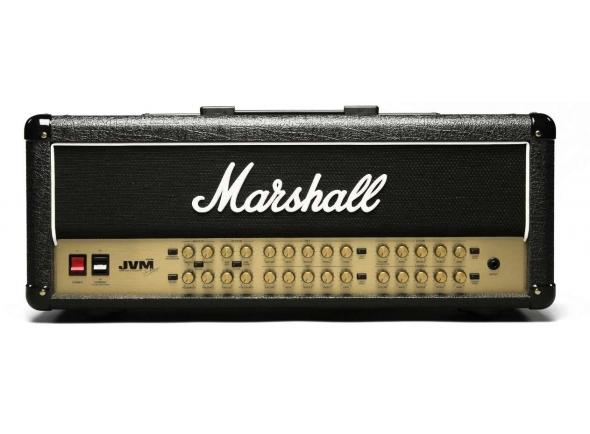 Marshall JVM410H  Cabeça Guitarra Eléctrica Marshall JVM410H. Efeitos: 4 Canais; Equalizador independente para cada canal; Fx loop. Electrónica: Pre amp:4x ECC83; Power amp: 1x ECC83, 4x EL34. Potência máxima: 100W. MIDI: 1x Entrada MIDI; 1x Entrada MIDI Thru; 1x Saída MIDI.