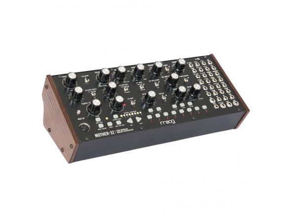 Moog Mother-32   O Moog Mother-32 é o primeiro sintetizador semi-modular de mesa da Moog.  É um instrumento analógico distintivo que adiciona som analógico, sequenciamento e ampla interconectividade a qualquer ecossistema eletrônico ou modular. Este novo e expansivo instrumento de produção e performance ao vivo é feito a mão em Asheville, NC, e tem sido meticulosamente projetado para oferecer aos músicos uma variedade de ferramentas criativas para inspirar música nova, som único e infinita exploração sônica.