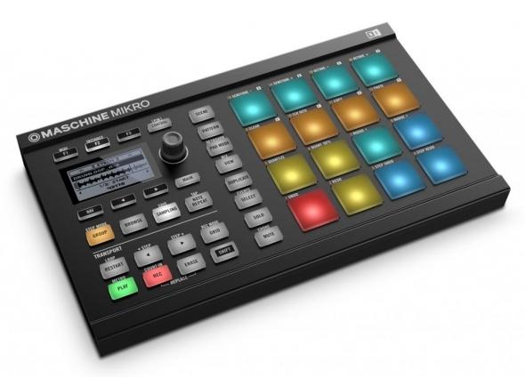 Native Instruments Maschine Mikro MK2 Black   Native Instruments MASCHINE Mikro Mk2 Black  Controlador; Hardware/Software  16 Pads multi-color sensíveis a toque  Step Sequencer. Gravação Polifónica  Inclui: Maschine 2 e Komplete Select