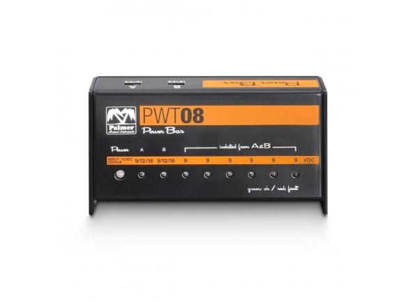 Palmer PWT 08   Palmer PWT 08  Power supply para pedais  8 outputs  Total de 2000 mA  Inclui 8 cabos