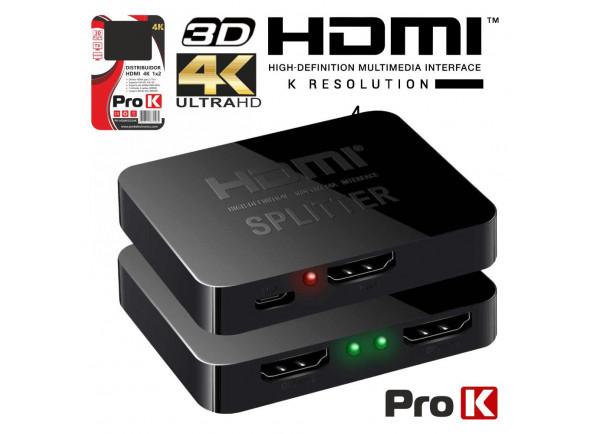 Conversor/Distribuidor de vídeo ProK   Distribuidor HDMI 1 Entrada 2 Saídas 4K