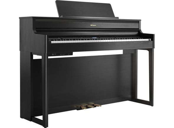 Pianos Digitais de Móvel Roland HP704 CH Charcoal Black Piano Premium Bluetooth 10 Anos Garantia