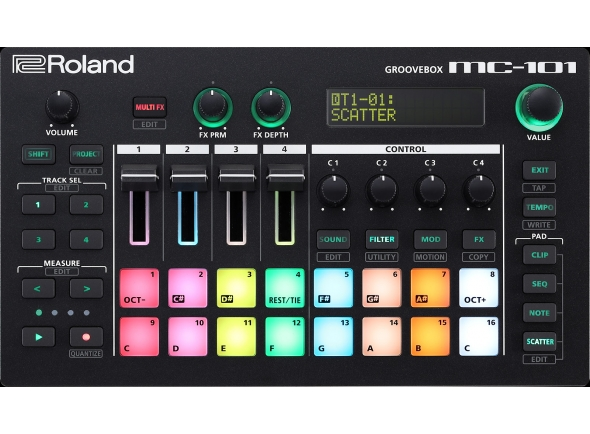 Sequenciadores de ritmos Roland MC-101 Caixa de Ritmos GROOVEBOX