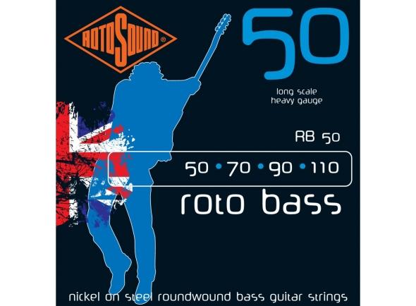 Jogo de cordas .050 para baixo elétrico de 4 cordas Rotosound RB50