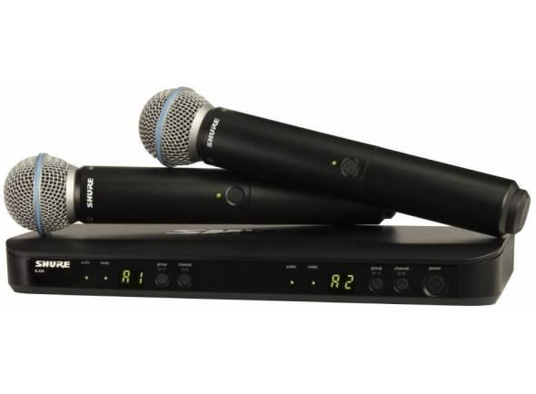 Shure BLX288/B58  O sistema BLX288 / PG58 apresenta dual-channel receptor BLX88 da Shure e um par de transmissores BLX2, cada um equipado com uma cápsula de microfone Shure PG58.