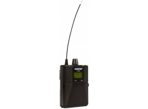 Shure P3RA L19  Receptor sem fio bodypack P3RA é uma versão avançada do P3R, com construção completamente em metal, opção de bateria recarregável e funções avançadas que incluem EQ e limitador de volume.