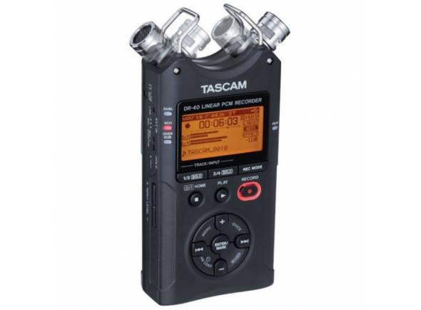 """Tascam DR-40 V2  Tascam DR-40 V2  Até 96 kHz de 24 bits de gravação WAV / BWF ou MP3  Microfone de condensador embutido  Ajustável da posição X / Y para A / B  2x XLR / 6.3 mm entradas de microfone / linha com alimentação fantasma  Fontes externas podem ser gravadas simultaneamente através do microfone embutido (4 pistas)  A gravação dupla capta o sinal duas vezes (nível normal e baixo)  O modo Overdub permite a gravação repetida de uma passagem  A redução máxima reduz automaticamente o sinal de entrada ideal  Até 15 horas de duração da bateria  O buffer de pré-gravação grava até 2 segundos antes do início da gravação  Velocidade de reprodução ajustável 50 - 150% (o tom é retido)  Limitador ajustável e filtro de corte baixo (40/80/120 Hz)  Alto-falante e sintonizador incorporados  Saída de fone de ouvido / linha  Built-in EQ (reprodução) e efeito de reverberação estéreo  Furo de parafuso de fixação do tripé (1/4 """")  Meio de armazenamento: cartão SD / SDHC (atualmente com capacidade para cartão de 32 GB)  Jacks Neutrik  Alimentado por 3 pilhas AA (opcional)  Conector para fonte de alimentação (opcional PS-P520E) ou bateria externa (BP-6AA opcional) ou alimentação do barramento USB  Dimensões: 70 x 155 x 35 mm  Peso: 213 g  Incl. Cabo USB 2.0, cartão de memória de 2GB"""