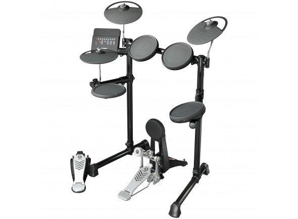 Yamaha DTX450K Compact E-Drum Set  O kit DTX450K é o modelo mais completo desta nova série   Pads de Borracha.  Pads: 9 (1x Bombo, 1x Tarola, 3x Timbalões, 2x Pratos, 1x Hi-Hat, 1x Controlador de Hi-Hat)  Sons: 169 (23 Tarolas, 21 Bombos, 36 Timbalões, 31 Pratos, 16 Hi-Hats, 42 Percussão);