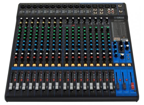 """Yamaha MG-20XU B-Stock    Yamaha MG-20XUMesa de mistura com 20 canais    16 Entradas Mic (XLR/1/4"""" Jack) com 48V Phantom power    EQ de 3 bandas com semi-paramétrico      Filtro High-Pass y 26dB Pad Switch    FX integrado com 24 parâmetros    4 Entradas estéreo (1/4"""" Jack) com EQ de 3 bandas    Saída XLR    Group Bus Out    4 Aux para todos os canais    USB com 2 In/saídas (compatível com iPad versão 2 ou superior, é necessário o kit de ligação à câmara)    Rack mount e código Cubase AI DAW Download incluídos    Dimensões: 444 x 130 x 500 mm    Peso: 7,1 Kg"""