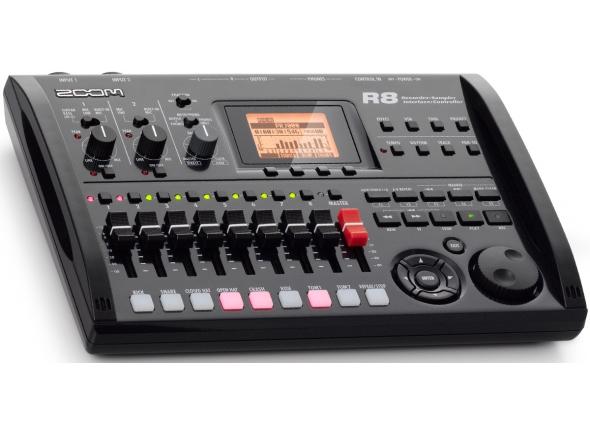 """Zoom R8   Zoom R8  - Faixas Físicas: 8  - Gravação de Faixas Simultâneas: 2  - Playback de faixas Simultâneas: 8  - Formato Recording Data: 44.1/84kHz, 16/24-bit WAV  - Tempo de Gravação Máximo: 200 minutos/GB (44.1kHz 16-bit, mono tracks)  - Projetos: 1000  - Marcadores: 100 por projeto  - Outras Funções: Punch-In/Out (manual ou automático), Bounce, Marcador, A-B Repeat, UNDO-REDO, Metrônomo  - Canais de Input: 2  - Canais de Output: 2  - Quantização: 24-bit  - Frequência de Sampling: 44.1/48/88.2/96kHz  - Faders: 9  - Nível de Metros: 19-step LCD, Post-fader  - Parâmetros de Faixa: Equalizador de 3 bandas, Pan (equalização), Effect Send x 2, Invert  - Algoritmos: 8 (limpo, distorção, aco/bass sim, baixo, microfone, dual mic, stereo, mastering)  - Tipos: 146  - Módulos: 7 para Insert, 2 para Send/Return  - Patches: 310 para Insert, 60 para Send/Return  - Tuner: cromático, guitarra, baixo, modo aberto A/D/E/G  - Formato Playback Data: 44.1/48kHz, 16/24-bit WAV  -Vozes: 8  - Funções de Edição: Trim, Time-Stretch  - Vozes: 8  - Formato de Som: 16-bit PCM linear  - Kits de Bateria: 10  - Pads: 8  - Precisão: 48PPQN  - Padrões de Ritmo: 511/projeto  - Padrões: 511 (472 fabricados, 39 em branco)/projeto  - Beat: 1/4 ? 8/4  - Mídia de Gravação: cartões de memória SD (16 MB- 2 GB), SDHC (4-32 GB)  - Display de LCD 128?64 pixel (com luz de fundo)  - Microfones Built-In  - Energia do modo """"Phantom Power"""": 48 V, 24 V  - Entrada USB"""
